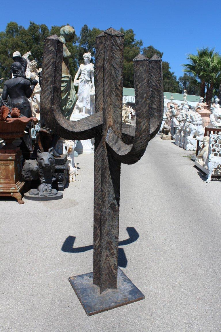 Spanish Wrought Iron Set of Three Cactus with Arms For Sale 14