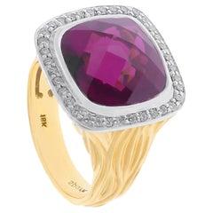 Spark 18 Karat Rhodolite Garnet and Diamond Ring
