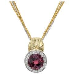 Spark 4.99 Carat Pink Tourmaline Diamond Multi-Strand Two-Tone Gold Necklace