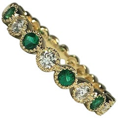 Spark Creations 18 Karat Diamond and Emerald Stacking Band