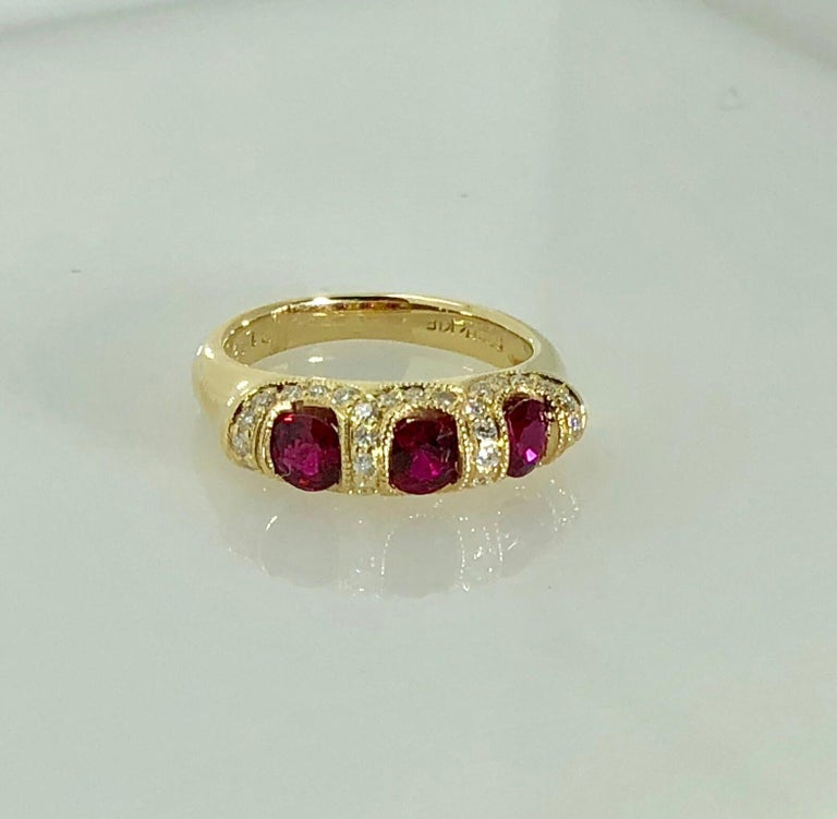 Spark Creations 18 Karat Yellow Gold Diamond And Ruby