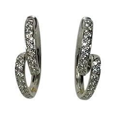 """Spark Creations 18 Karat Diamond """"Ribbon"""" Hoop Earrings"""