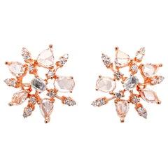 Spark Motif White Diamond Earrings by Dilys' in 18 Karat Rose Gold