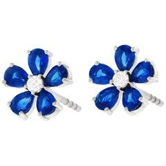 Spark Sapphire and Diamond Set Gold Flower Earrings