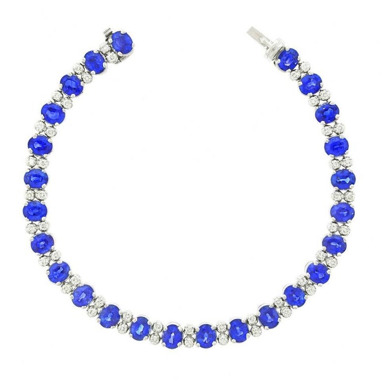 Spark Sapphire and Diamond-Set White Gold Bracelet In Excellent Condition For Sale In Litchfield, CT