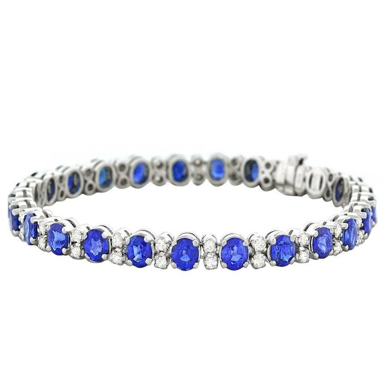 Spark Sapphire and Diamond-Set White Gold Bracelet For Sale