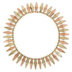 Sparkes Retro Two-Color Gold Necklace with Navette-Shaped Links