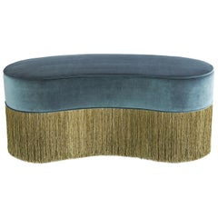Sparkle Bean Green Ottoman with Gold and Green Fringe