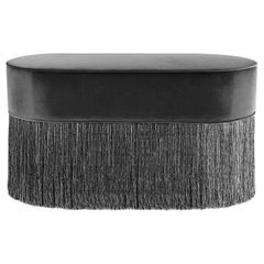 Sparkle Black Oval Ottoman with Black and Silver Fringe