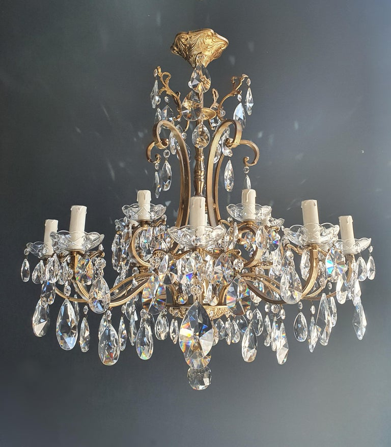 Sparkle crystal brass candelabrum antique chandelier ceiling lustre Art Nouveau