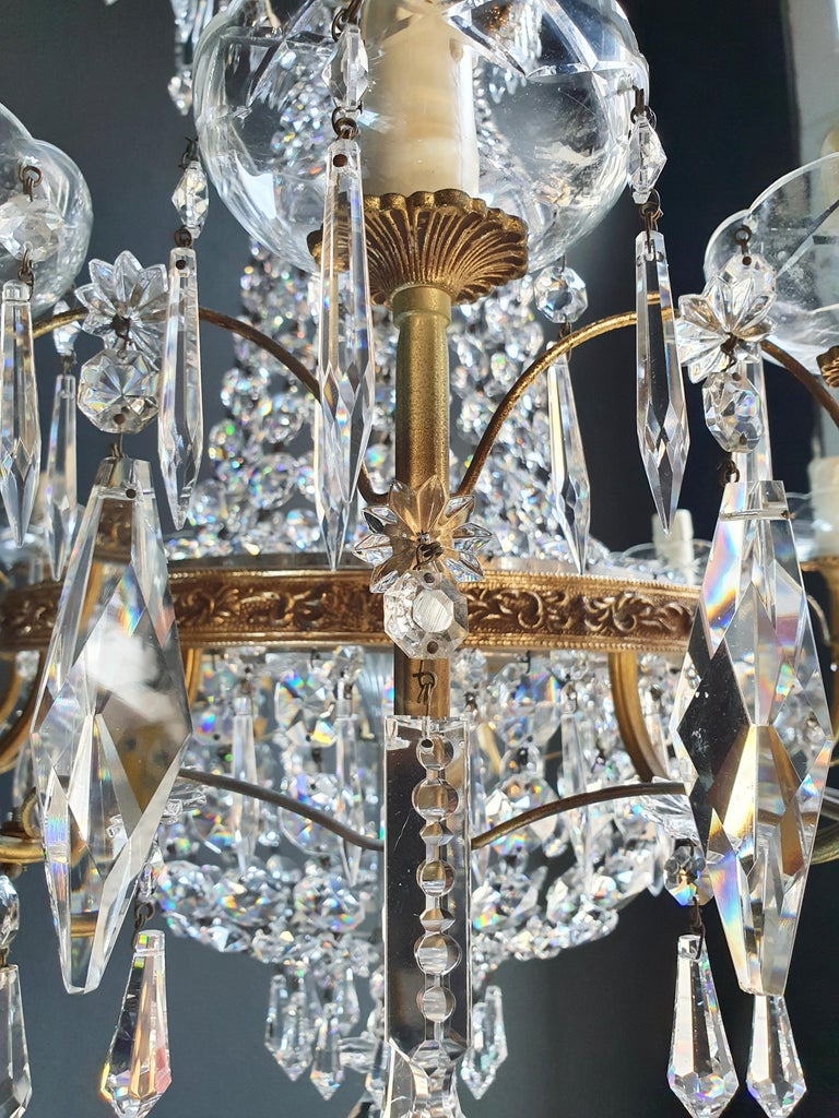 Sparkle Empire Sac a Pearl Chandelier Crystal Lustre Ceiling Lamp Antique Brass For Sale 3