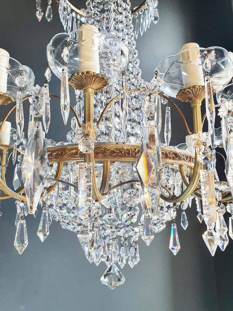 Sparkle Empire Sac a Pearl Chandelier Crystal Lustre Ceiling Lamp Antique Brass For Sale 4