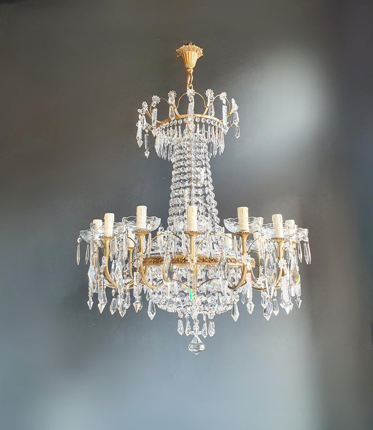Sparkle Empire Sac a Pearl Chandelier Crystal Lustre Ceiling Lamp Antique Brass For Sale 5
