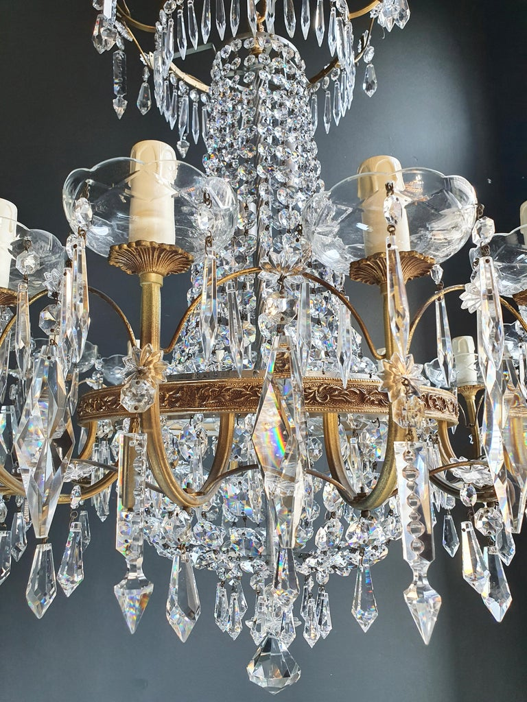 European Sparkle Empire Sac a Pearl Chandelier Crystal Lustre Ceiling Lamp Antique Brass For Sale