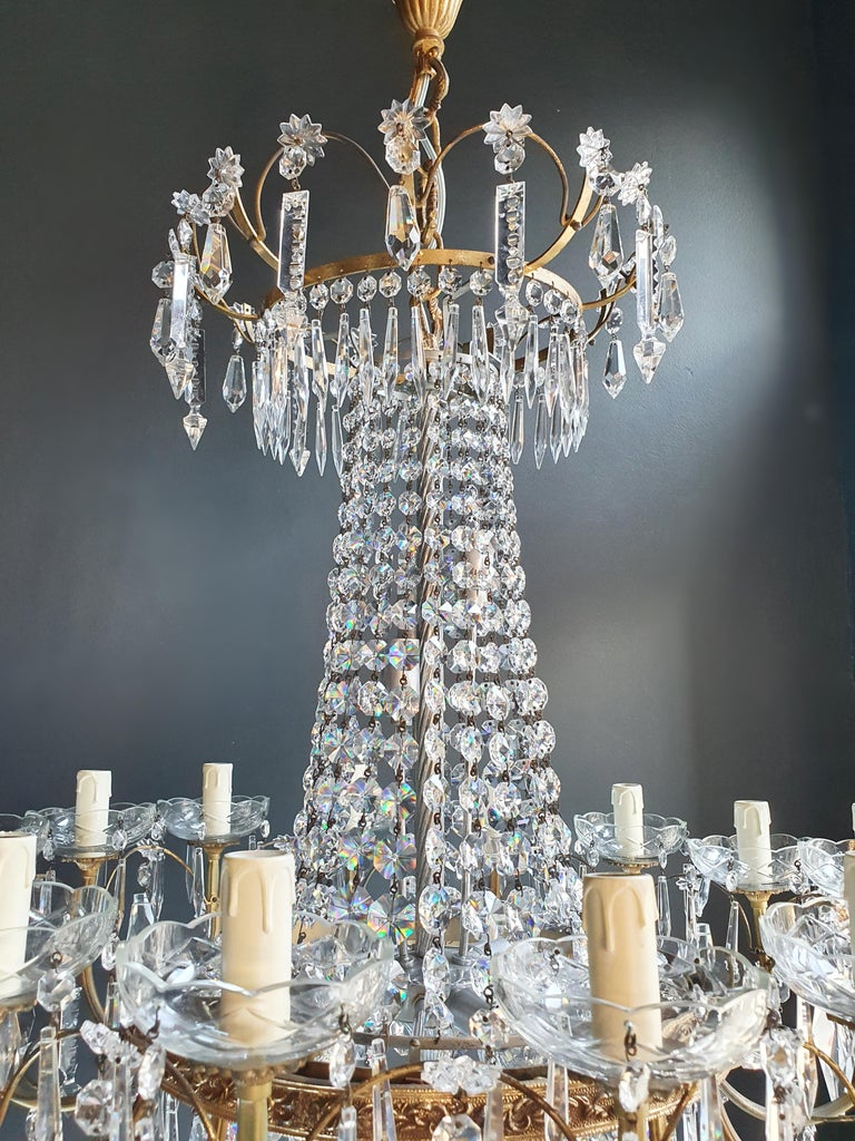Hand-Knotted Sparkle Empire Sac a Pearl Chandelier Crystal Lustre Ceiling Lamp Antique Brass For Sale