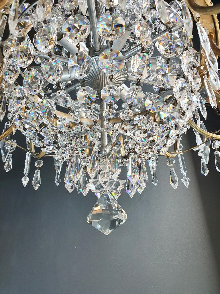 Glass Sparkle Empire Sac a Pearl Chandelier Crystal Lustre Ceiling Lamp Antique Brass For Sale