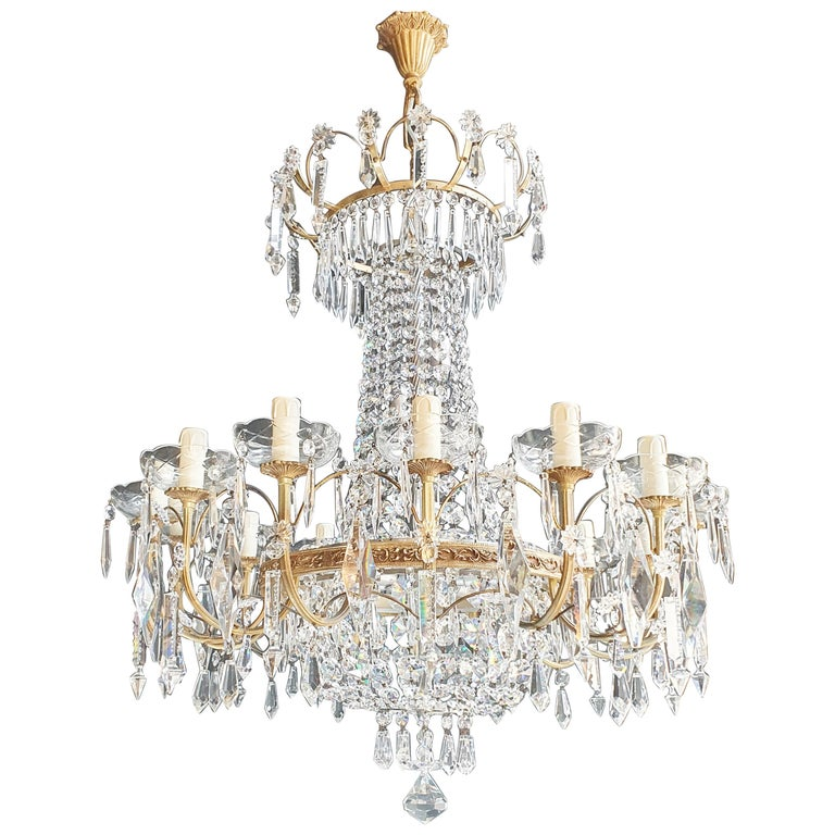 Sparkle Empire Sac a Pearl Chandelier Crystal Lustre Ceiling Lamp Antique Brass For Sale