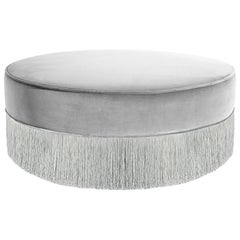 Sparkle Gray Ottoman with Silver Fringe