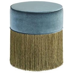 Sparkle Green Blue Pouf with Green and Gold Fringe