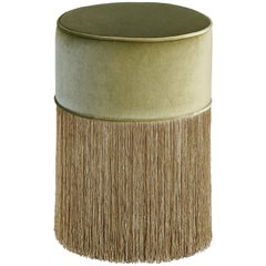 Sparkle Green Pouf with Gold Fringe
