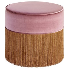 Sparkle Pink Pouf with Copper Fringe