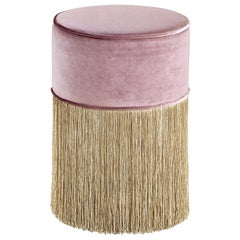 Sparkle Pink Pouf with Gold Fringe
