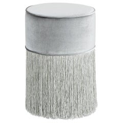 Sparkle Silver Pouf with Silver Fringe