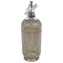Sparklets London Barware Soda Siphon Seltzer Glass Bottle with Wire Mesh Metal