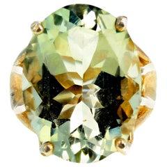 Sparkling 12 Carat Praziolite Green Amethyst Stirling Silver Ring