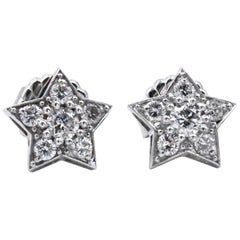 Sparkling 14 Karat White Gold 1.30 carat Star Stud Earrings