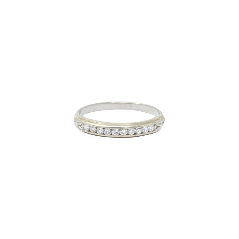 Art Deco Sparkling .20 CTW Diamond and 14 Karat White Wedding Band Stackable Ring