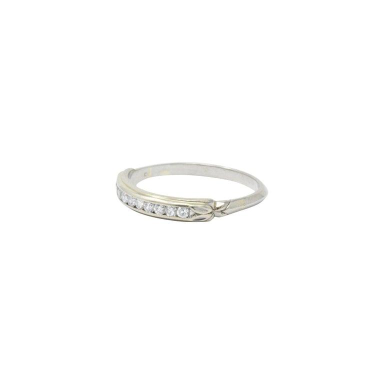 Women's or Men's Sparkling .20 CTW Diamond and 14 Karat White Wedding Band Stackable Ring