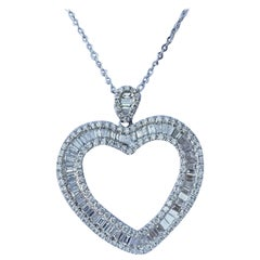 Sparkling 3.50 Carat Baguette Diamond Heart Shaped White Gold Pendant on Chain