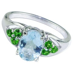Sparkling Blue Aquamarine with Green Chrome Diopside in Sterling Ring