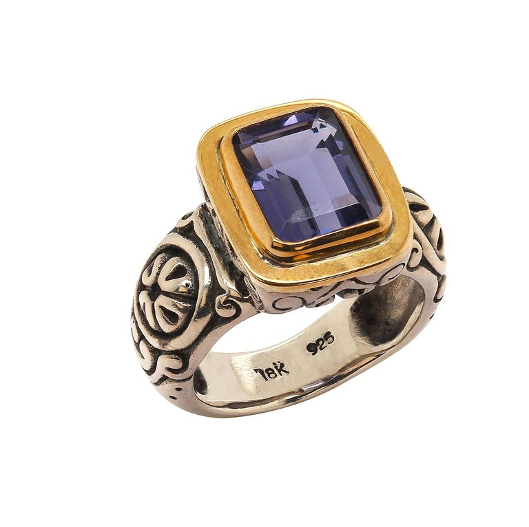 Sparkling Blue Iolite in Sterling Silver Ring with 18 Karat Gold  For Sale 2