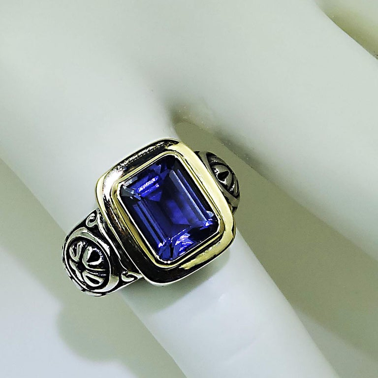 Women's or Men's  Sparkling Blue Iolite in Sterling Silver Ring with 18 Karat Gold  For Sale