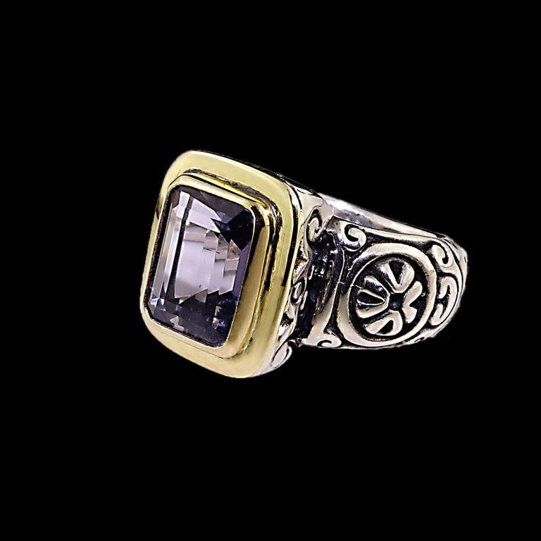 Artist  Sparkling Blue Iolite in Sterling Silver Ring with 18 Karat Gold  For Sale