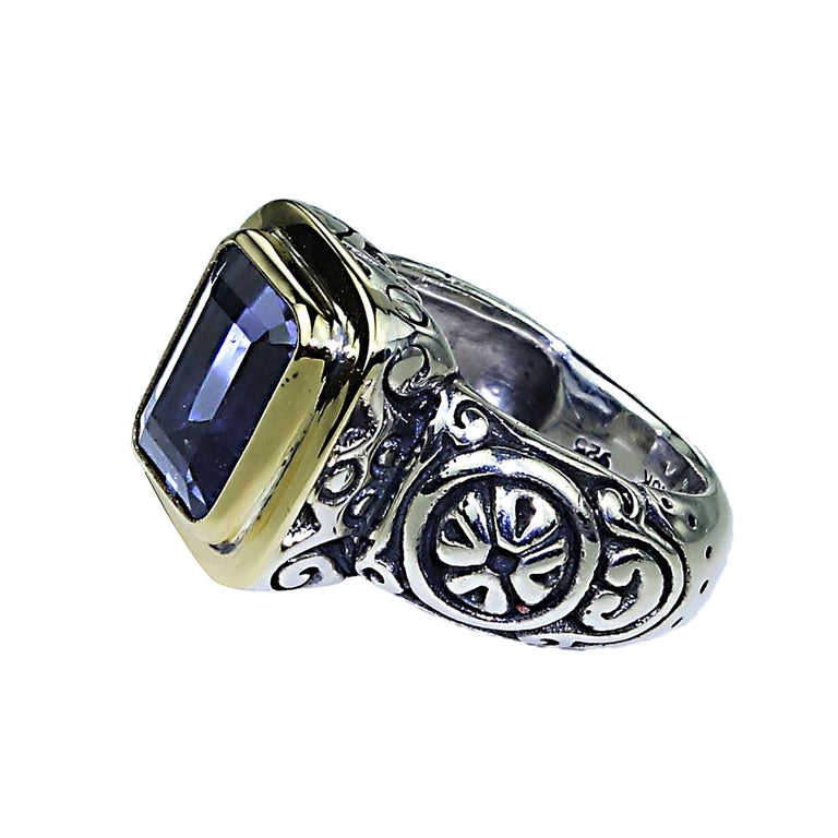 Emerald Cut  Sparkling Blue Iolite in Sterling Silver Ring with 18 Karat Gold  For Sale