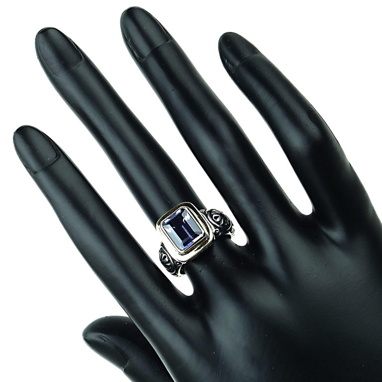 Sparkling Blue Iolite in Sterling Silver Ring with 18 Karat Gold  In New Condition For Sale In Tuxedo Park , NY