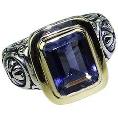 Gemjunky Sparkling Blue Iolite in Sterling Silver Ring with 18 Karat Gold