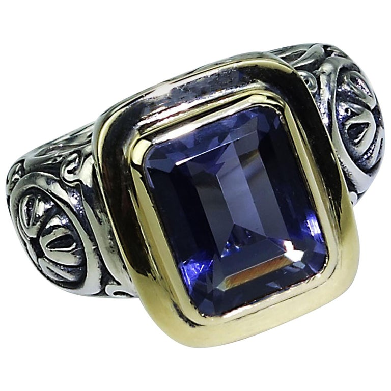 Sparkling Blue Iolite in Sterling Silver Ring with 18 Karat Gold  For Sale