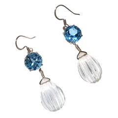 Sparkling Blue Topaz and Quartz Crystal Earrings