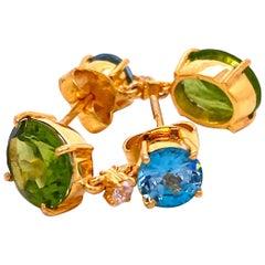 Sparkling Blue Zircon and Green Peridot Earrings