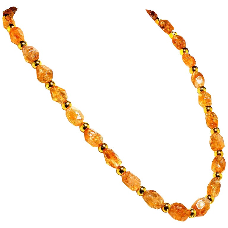 Sparkling Chunky Citrine Nuggets with Goldy Accents Necklace For Sale