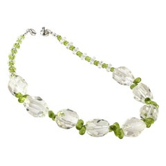Sparkling Clear Quartz Crystal and Green Peridot Choker Necklace