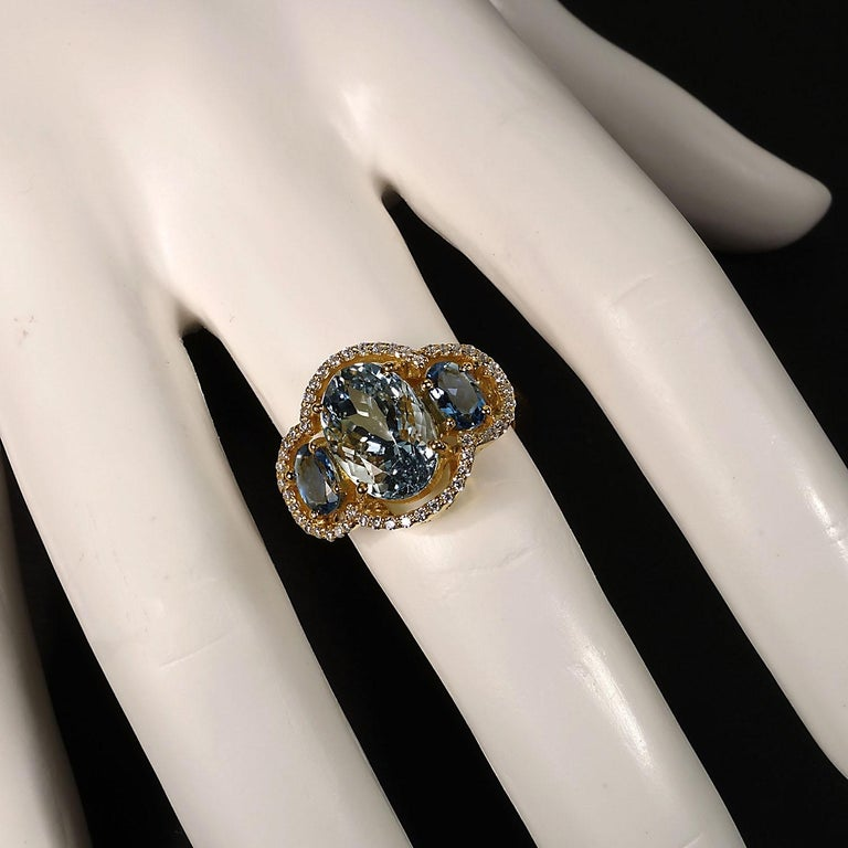 Sparkling Cocktail ring of three Aguamarines with Zircon Halo In New Condition For Sale In Tuxedo Park, NY