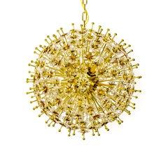 Crystal & Brass Sparkling Sunburst Chandelier (2 available)
