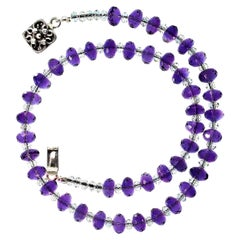 Gemjunky Sparkling Faceted Purple Amethyst and Clear Crystal Choker Necklace