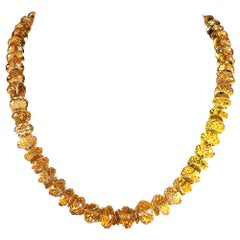 Sparkling Golden Citrine Rondelles Choker Necklace with Golden Accents