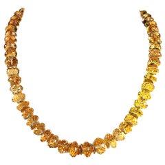 Gemjunky Sparkling Golden Citrine Rondelles Choker Necklace with Golden Accents